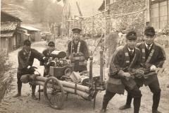 消防団と可搬ポンプ機材